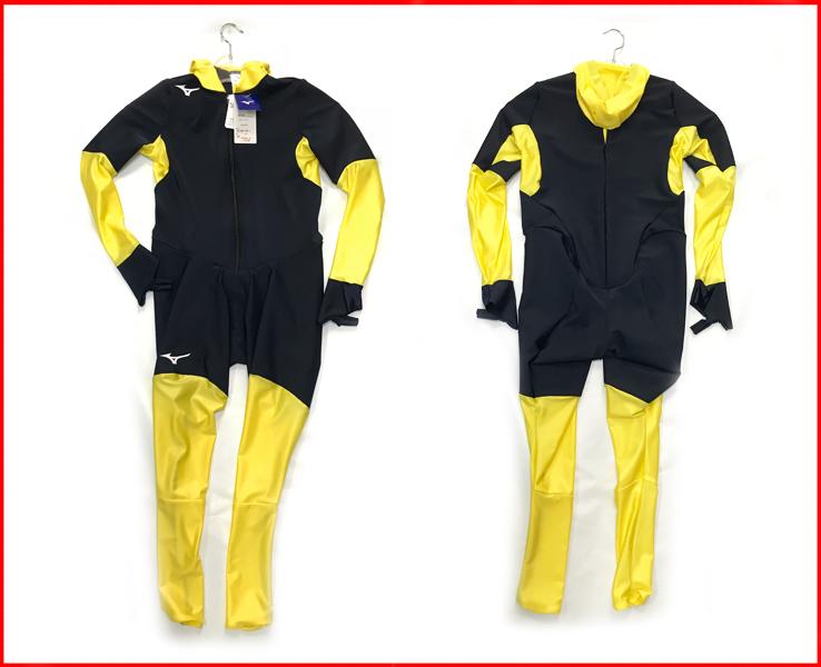ジュニア スピードスケートワンピース ミズノ レーシングスーツ Z2JH8E34 ネイビー×イエロー