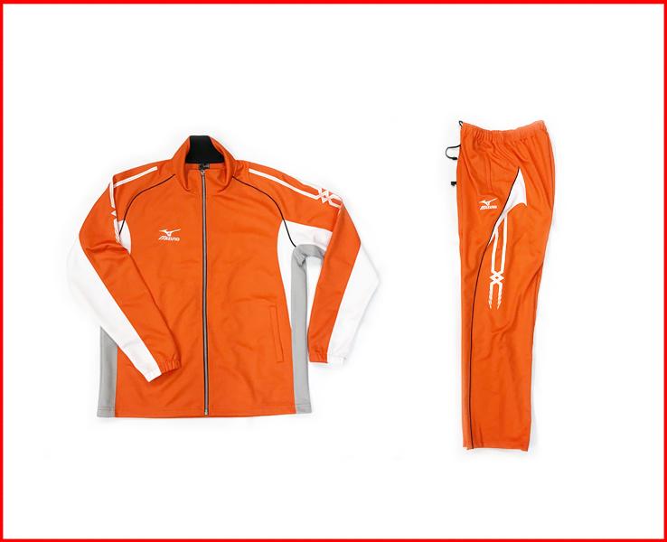 ミズノ トレーニングウェアー 上下セット 店舗別注カラー オレンジ×ホワイト×グレー フルジップシャツ 長袖長ズボン