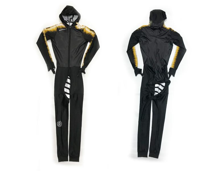 スピードスケート ワンピース レーシングウェアー スケート レース アプルラインド パシュート ストレッチ素材 ブラック×イエロー
