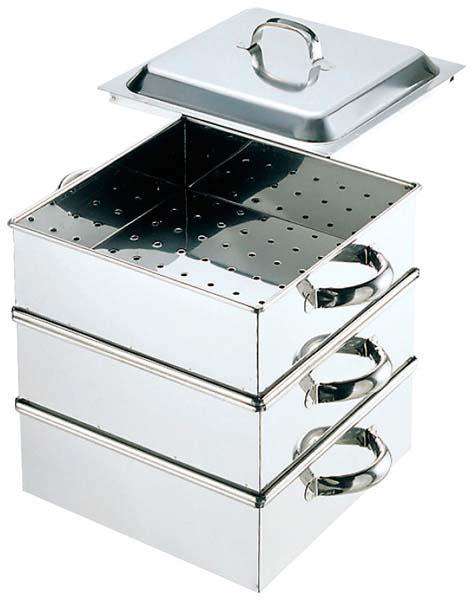 EBM 業務用 2段 新品 業務用角蒸器 蒸し器 28cm 特価 格安 販売 18-8 【厨房用品 通販】 [0791-01] セイロ