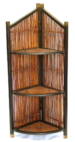ウッド&バンブー家具 コーナーシェルフ/ラック(折りたたみ式)・送料無料 【アジアン家具/エスニック家具/アジアンテイスト/Bamboo Furniture】