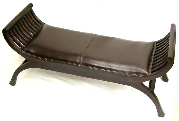 Comfortable Two Seat Size! Teak U0026amp; Leather Kartini Bench   Asian  Furniture, Balinese Furniture