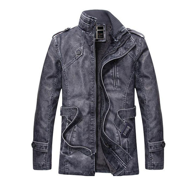 Outer In The Fall And Winter Casual Mens Riders Jacket Leather Jacket Leatherette Jacket Motorcycle Motorcycleware Stand Up Collar Back Boa Back