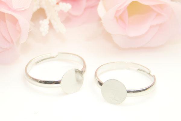 【メール便OK】ハンドメイド素材♪指輪リングパーツ50個【シルバー】