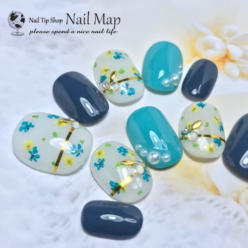 Resort Nail Wedding Gel Nail Tip Dwarf Nail Short Oval Where A Nail Is Pretty In Dried Flower Nail Reckoning Nail Order Nail Tip Blue Light Blue Navy
