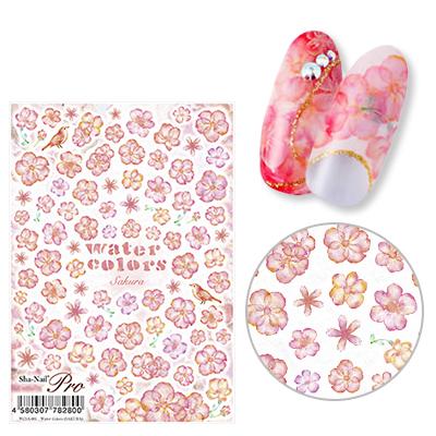 安心の定価販売 ネイルシール 花 フラワー 写ネイル 取寄 春の新作 sha-nail 桜 水彩