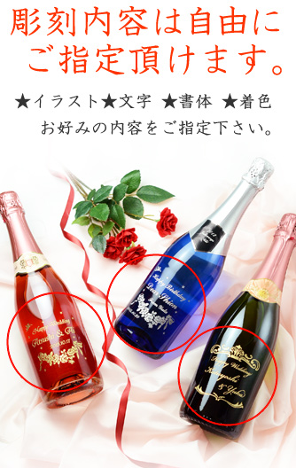 Name sparkling wine name into wine choice put birthdays and names carved into liquor gift, gift-giving and gift message card P06Dec14