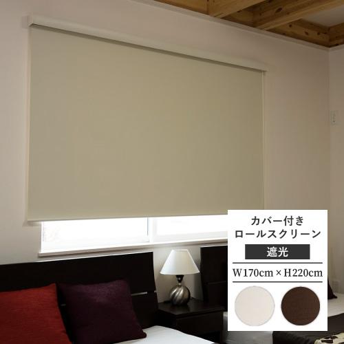 カバー付 ロールスクリーン フルネス エクシヴ エクシブ 遮光タイプ 規格品 幅170cm 高さ220cm