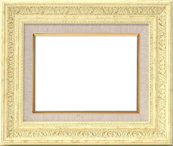油絵用額縁 8203/ホワイト S8(455×455mm)☆前面ガラス仕様☆【dras-25】【絵画/壁掛け/インテリア/玄関/アートフレーム】