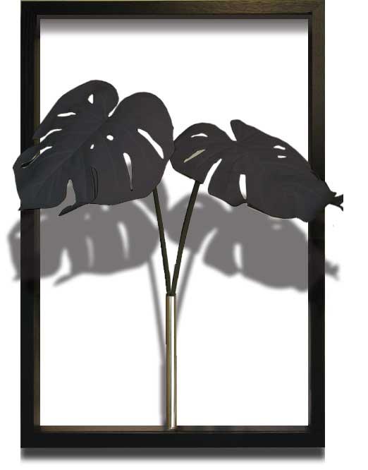 リーフフレーム ITN-51105 Monstera Deliciosa / Black サイズ(mm)425x625x300