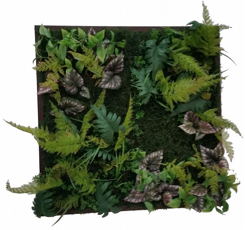 リーフフレーム IWP-60675 Wall Plants frame シダ&ミックス(Brown frame) サイズ(mm)625x625x150
