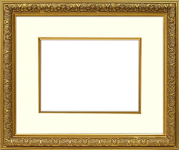写真用額縁 シャイン/ゴールド A2(594×420mm)専用☆前面アクリル仕様☆マット付き(金色細縁付き)