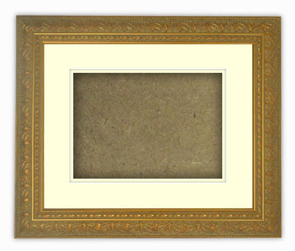 【送料無料】シャドーボックス額縁 420型/ゴールド 大衣サイズ(509×394mm) ☆前面アクリル仕様☆ マット付き(空間深さ30ミリ) 【模様・色に仕様変更有り】【絵画/壁掛け/インテリア/玄関/アートフレーム】