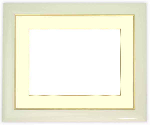 水彩額 J501/白 水彩F10(530×455mm)専用☆前面ガラス仕様☆マット付き(金色細縁付き)【絵画/壁掛け/インテリア/玄関/アートフレーム】
