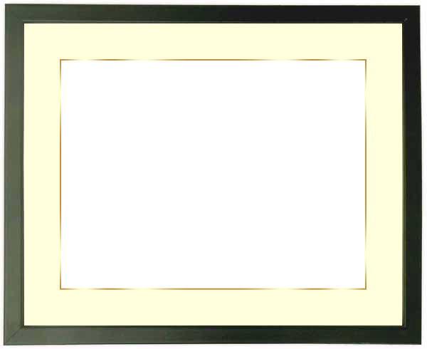 【送料無料】写真用額縁 歩-7/黒 A2(594×420mm)専用 ☆前面アクリル仕様☆マット付き(金色細縁付き)【絵画/壁掛け/インテリア/玄関/アートフレーム】