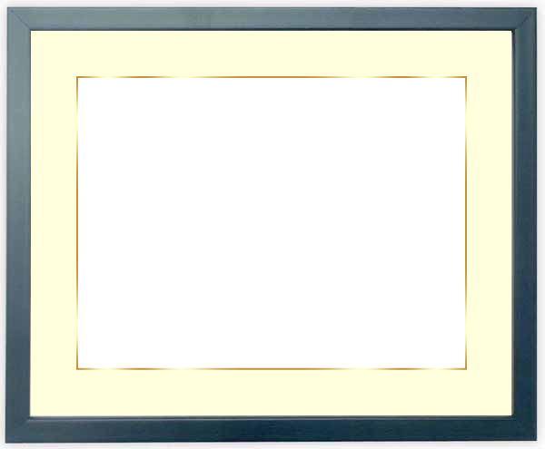 写真用額縁 歩-7/ブルー A2(594×420mm)専用 ☆前面アクリル仕様☆マット付き(金色細縁付き)【絵画/壁掛け/インテリア/玄関/アートフレーム】