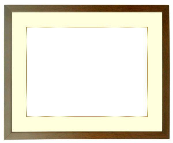 写真用額縁 歩-7/ブラウン A2(594×420mm)専用 ☆前面アクリル仕様☆マット付き(金色細縁付き)【絵画/壁掛け/インテリア/玄関/アートフレーム】