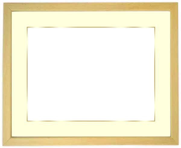 写真用額縁 歩-7/木地 A2(594×420mm)専用 ☆前面アクリル仕様☆マット付き(金色細縁付き)【絵画/壁掛け/インテリア/玄関/ナチュラル/リビング/アートフレーム】