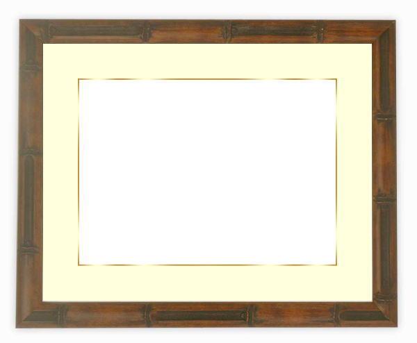 【送料無料】写真用額縁 竹フレーム/茶 写真全紙(560×457mm)専用 ☆前面アクリル仕様☆マット付き(金色細縁付き)【絵画/壁掛け/インテリア/玄関/アートフレーム】