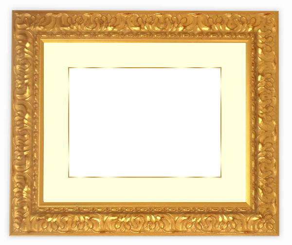 【送料無料】写真用額縁 246/ゴールド 写真半切(432×356mm)専用 ☆前面ガラス仕様☆マット付き(金色細縁付き)【写真額縁】【HP】【絵画/壁掛け/インテリア/玄関/アートフレーム】