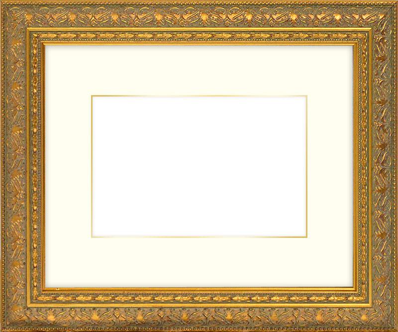 写真用額縁 420型/ゴールド 写真全紙(560×457mm)専用 ☆前面アクリル仕様☆マット付き(金色細縁付き) 【模様・色に仕様変更有り】【絵画/壁掛け/インテリア/玄関/アートフレーム】