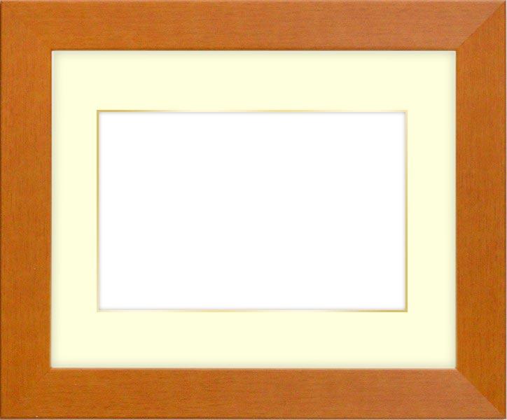 写真用額縁 1530/チーク B3(515×364mm)専用 ☆前面アクリル仕様☆マット付き(金色細縁付き)【絵画/壁掛け/インテリア/玄関/アートフレーム】