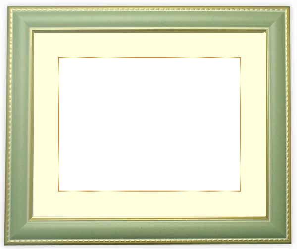 写真用額縁 9614/グリーン A2(594×420mm)専用☆前面アクリル仕様☆マット付き(金色細縁付き)【絵画/壁掛け/インテリア/玄関/アートフレーム】