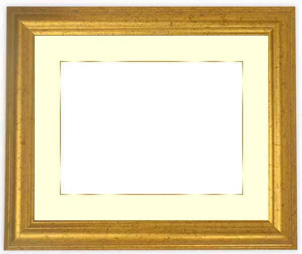 写真用額縁 9580/ゴールド A2(594×420mm)専用☆前面ガラス仕様☆マット付き(金色細縁付き)【写真額縁】【絵画/壁掛け/インテリア/玄関/アートフレーム】