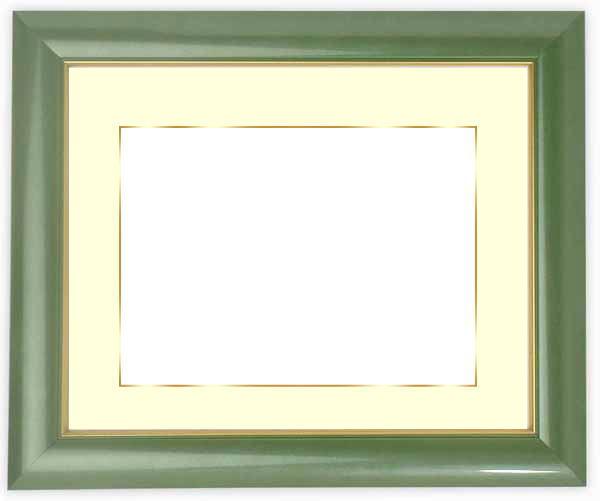 写真用額縁 30009/パールグリーン A2(594×420mm)専用 ☆前面ガラス仕様☆マット付き(金色細縁付き)【写真額縁】【絵画/壁掛け/インテリア/玄関/アートフレーム】