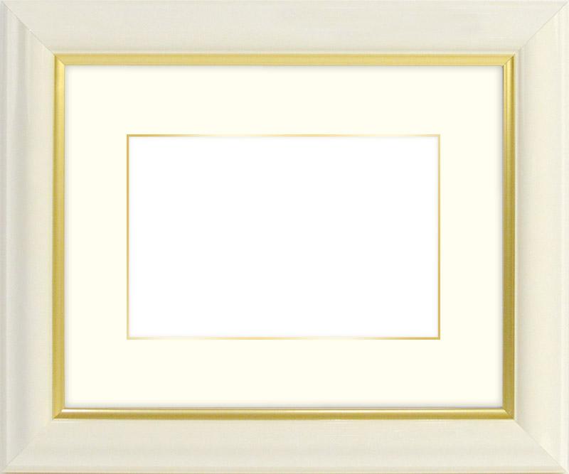 【送料無料】水彩額 工芸型/白 水彩F10(530×455mm)専用☆前面ガラス仕様☆マット付き(金色細縁付き)【絵画/壁掛け/インテリア/玄関/アートフレーム】