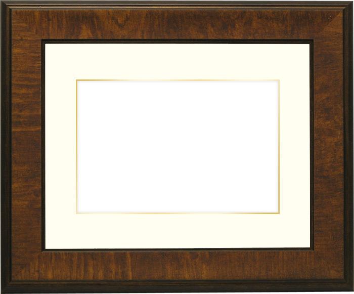 写真用額縁 8137/ブラウン B3(515×364mm)専用☆前面ガラス仕様☆マット付き(金色細縁付き)【写真額】【絵画/壁掛け/インテリア/玄関/アートフレーム】
