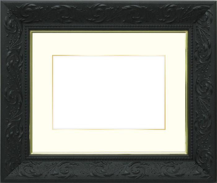 写真用額縁 チャタレー/黒 写真半切(432×356mm)専用☆前面アクリル仕様☆マット付き(金色細縁付き)【写真額】【絵画/壁掛け/インテリア/玄関/アートフレーム】