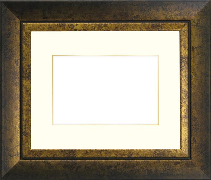 写真用額縁 シャドウ/ゴールド A2(594×420mm)専用☆前面ガラス仕様☆マット付き(金色細縁付き)【写真額】【絵画/壁掛け/インテリア/玄関/アートフレーム】