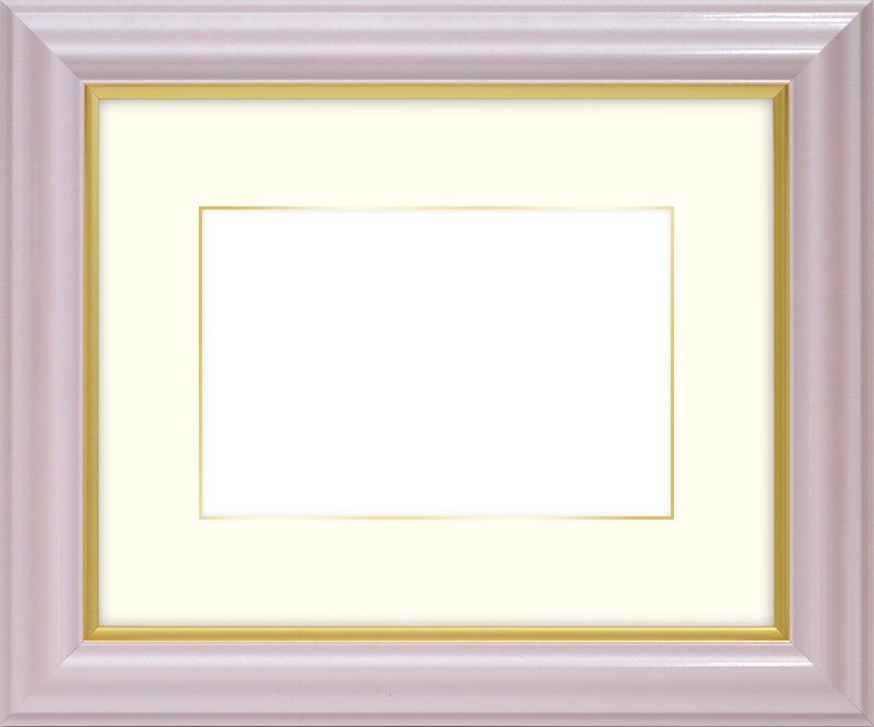 【送料無料】写真用額縁 工芸型/パールピンク 写真全紙(560×457mm)専用【写真額】☆前面アクリル仕様☆マット付き(金色細縁付き)【絵画/壁掛け/インテリア/玄関/アートフレーム】