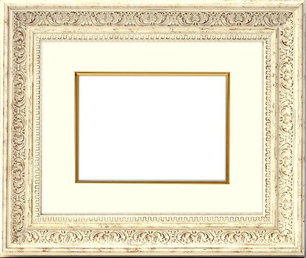 写真用額縁 8203/ホワイト 写真B3(515×364mm)専用 ☆前面アクリル仕様☆ マット付き(金色細縁付き)【写真額】【絵画/壁掛け/インテリア/玄関/アートフレーム】