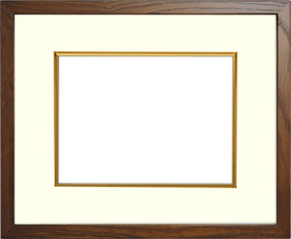 写真用額縁 D816/オーク 写真B3(515×364mm)専用 ☆前面アクリル仕様☆ マット付き(金色細縁付き)【写真額】【絵画/壁掛け/インテリア/玄関/アートフレーム】