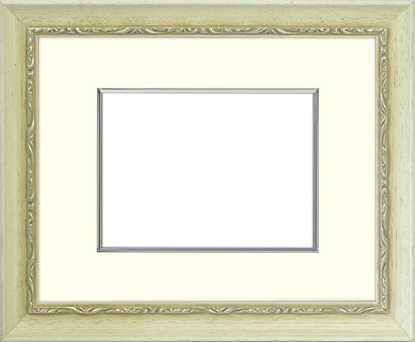 写真用額縁 モナコ/白 写真B3(515×364mm)専用 ☆前面アクリル仕様☆ マット付き(金色細縁付き)【写真額】【絵画/壁掛け/インテリア/玄関/アートフレーム】