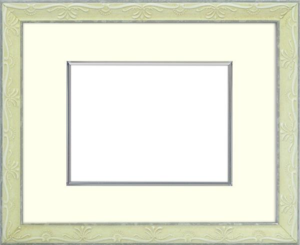 写真用額縁 ウィーン/白S 写真A2(594×420mm)専用 ☆前面アクリル仕様☆ マット付き(金色細縁付き)【写真額】【絵画/壁掛け/インテリア/玄関/アートフレーム】