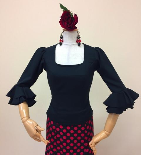 こちらの商品はイージーオーダーでも作れます フラメンコ衣装 ブラウス フラメンコ 黒 イージーオーダー セミオーダー ピッタリサイズ スーパーセール ダンス衣装 ステージ衣装 おしゃれ 高級感 全品最安値に挑戦 舞台衣装 ナジャハウス 踊りやすい
