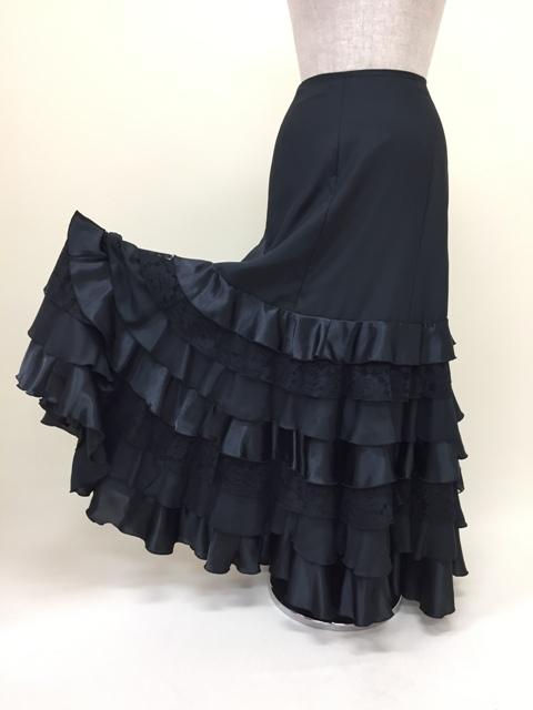 フラメンコ衣装 黒スカート 黒レース無地 黒ファルダ イージーオーダー セミオーダー フラメンコ 衣装 カッコイイ ピッタリサイズ 踊りやすい ダンス衣装 ステージ衣装 舞台衣装 おしゃれ 高級感 ナジャハウス