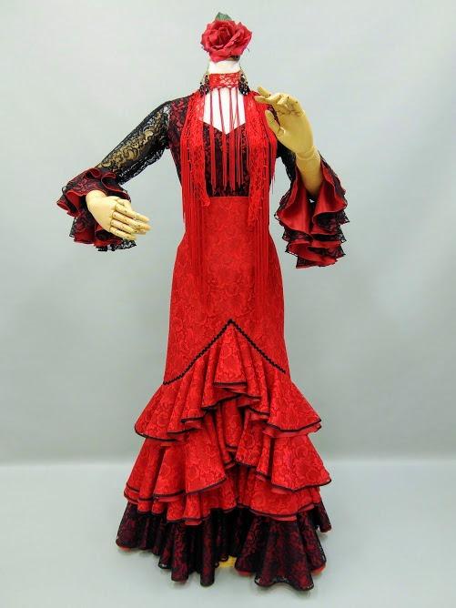 パッションフラメンコ衣装 黒/赤レ-スツ-ピ-ス情熱的衣装 マーメイド カルメン風赤黒レースブラウス 赤黒レーススカート1点物 ナジャハウス