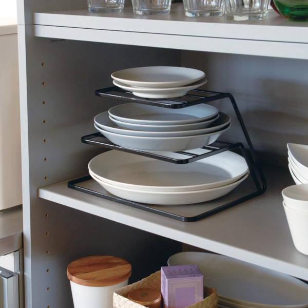 食器棚のお皿を一括収納できるシンプルなスタンド キッチン収納 tower ディッシュストレージ ブラック 3段 激安超特価 最安値 タワー