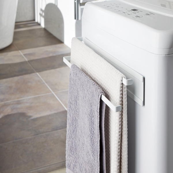 激安セール 驚きの値段 取り付けて洗濯機に収納 乾燥スペースを プレート 洗濯機横マグネットタオルハンガー2段