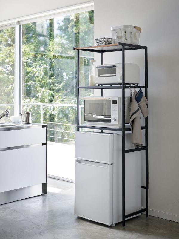 組立式 冷蔵庫上ラック タワー ブラック