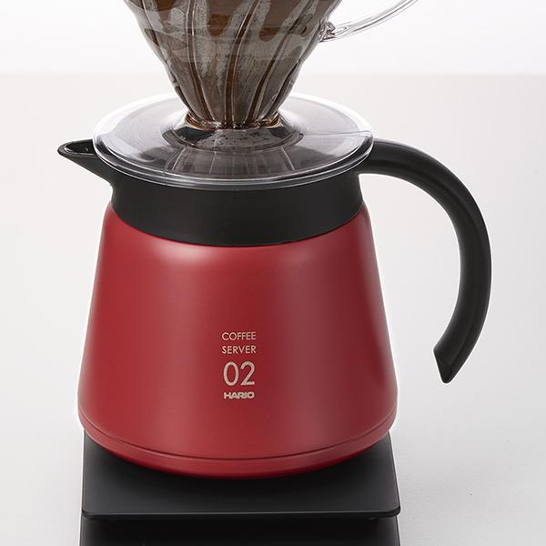 コーヒーの温度をキープする真空断熱構造のコーヒーサーバー ステンレスポット 卓上ポット 安い 激安 プチプラ 高品質 HARIO ハリオ レッド 贈答品 V60保温ステンレスサーバー600 VHS-60R