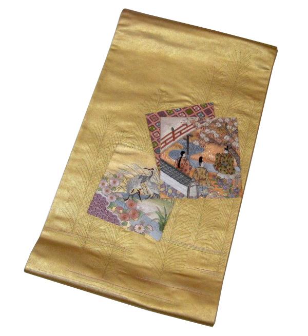 【特価品】【中古】中古美品 太鼓柄 蘇州刺繍 高級袋帯 (正絹)