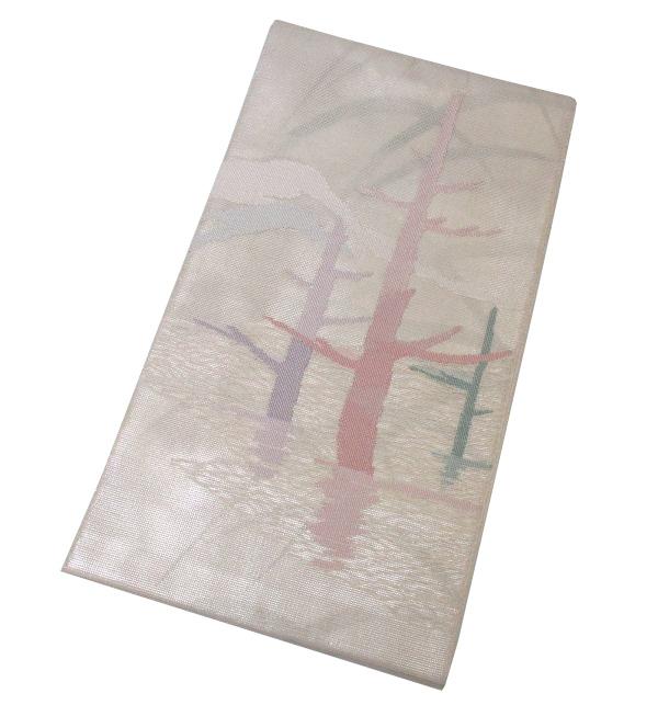 【中古】中古美品 夏物 太鼓柄 三重紗 袋帯(正絹)