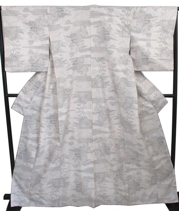 【中古】中古美品 女袷 本場白大島紬着物 (正絹・少し幅広サイズ)