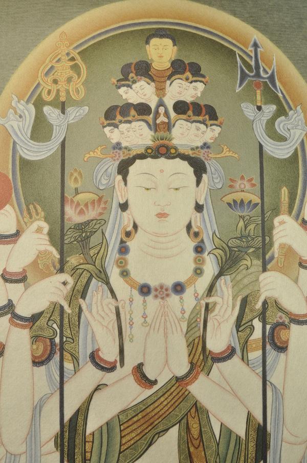 楽天市場千手観音 仏画掛け軸半切サイズ仏像仏画チベット美術卸