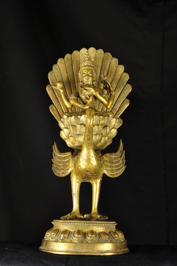 孔雀明王 銅造 鍍金彫金仕上げ 一点もの